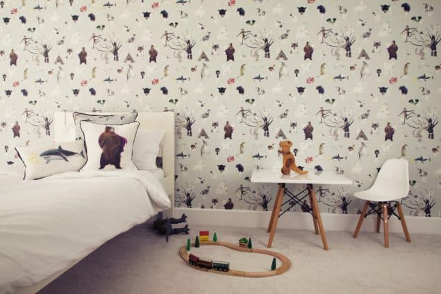 Wild Hearts Wonder A to Z wallpaper in grey