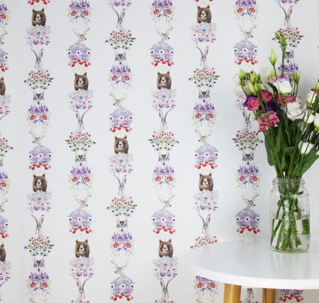 Wild Hearts Wonder Nordic wallpaper in white