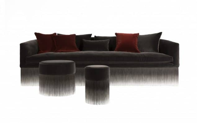 amami sofa and amami pouf are perfect examples of the trend for fringing in interiors