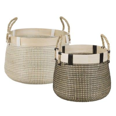 2 Plant Fibre Collapsible Rice Baskets