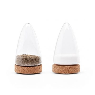 Glass and cork salt and pepper shakers by Puik Design