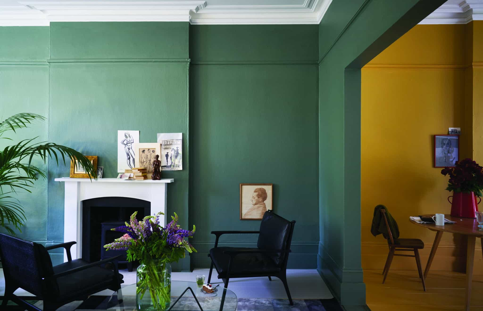 Green Smoke India Yellow Wimborne White paint from Farrow & Ball
