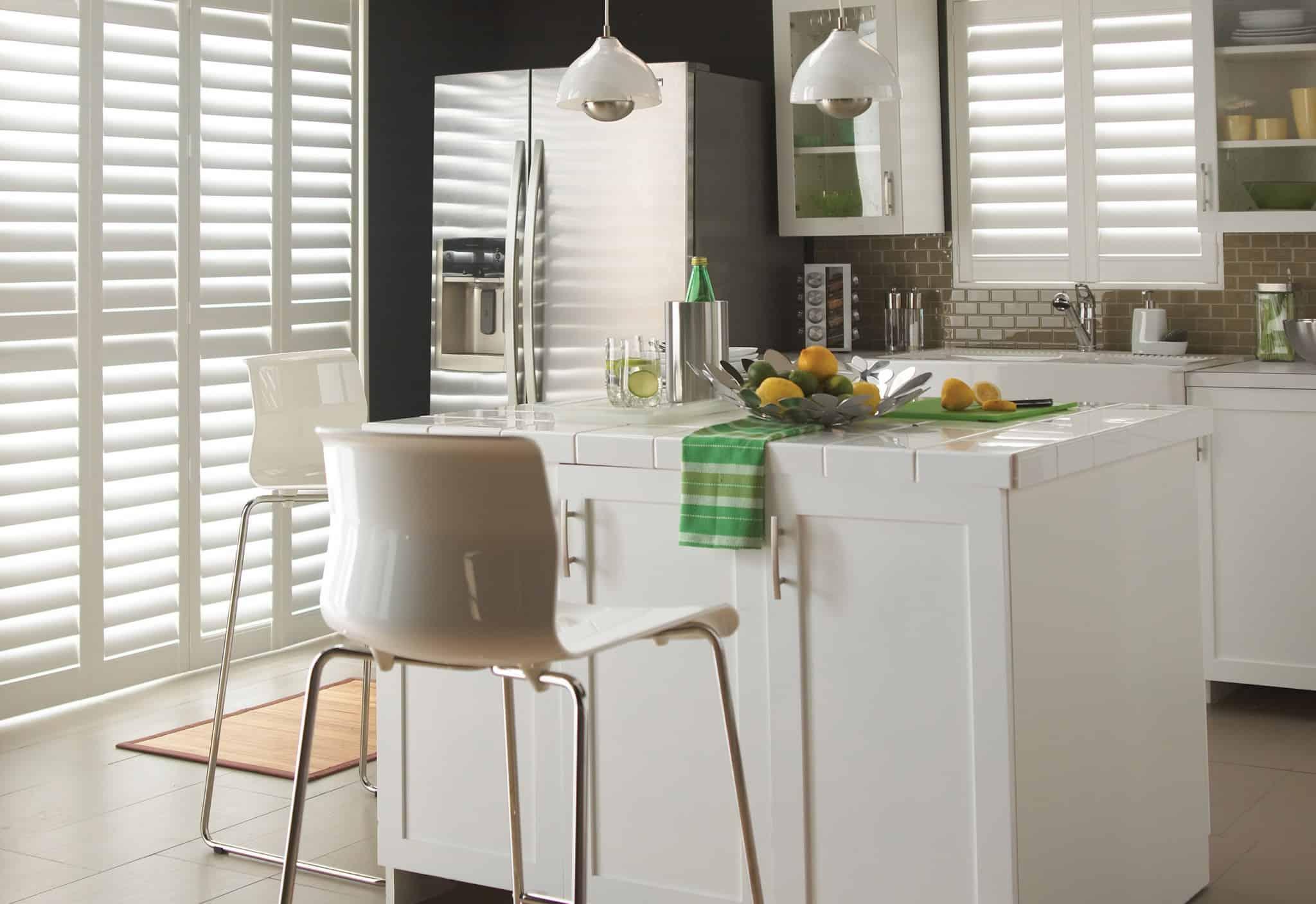 Luxaflex Faux Wood Shutter in White_kitchen_black wall