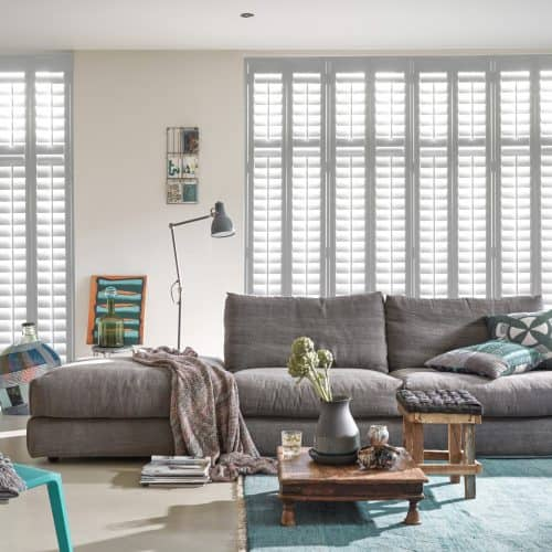 Luxaflex Faux Wood Shutter in white_living room_grey sofa
