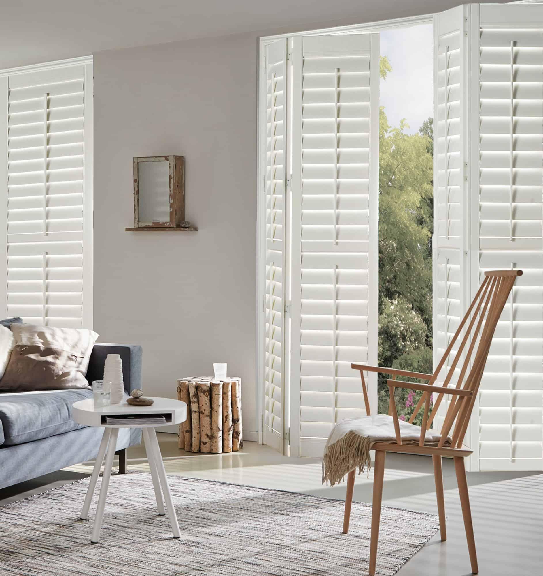 Luxaflex Faux Wood Shutter in white_lounge