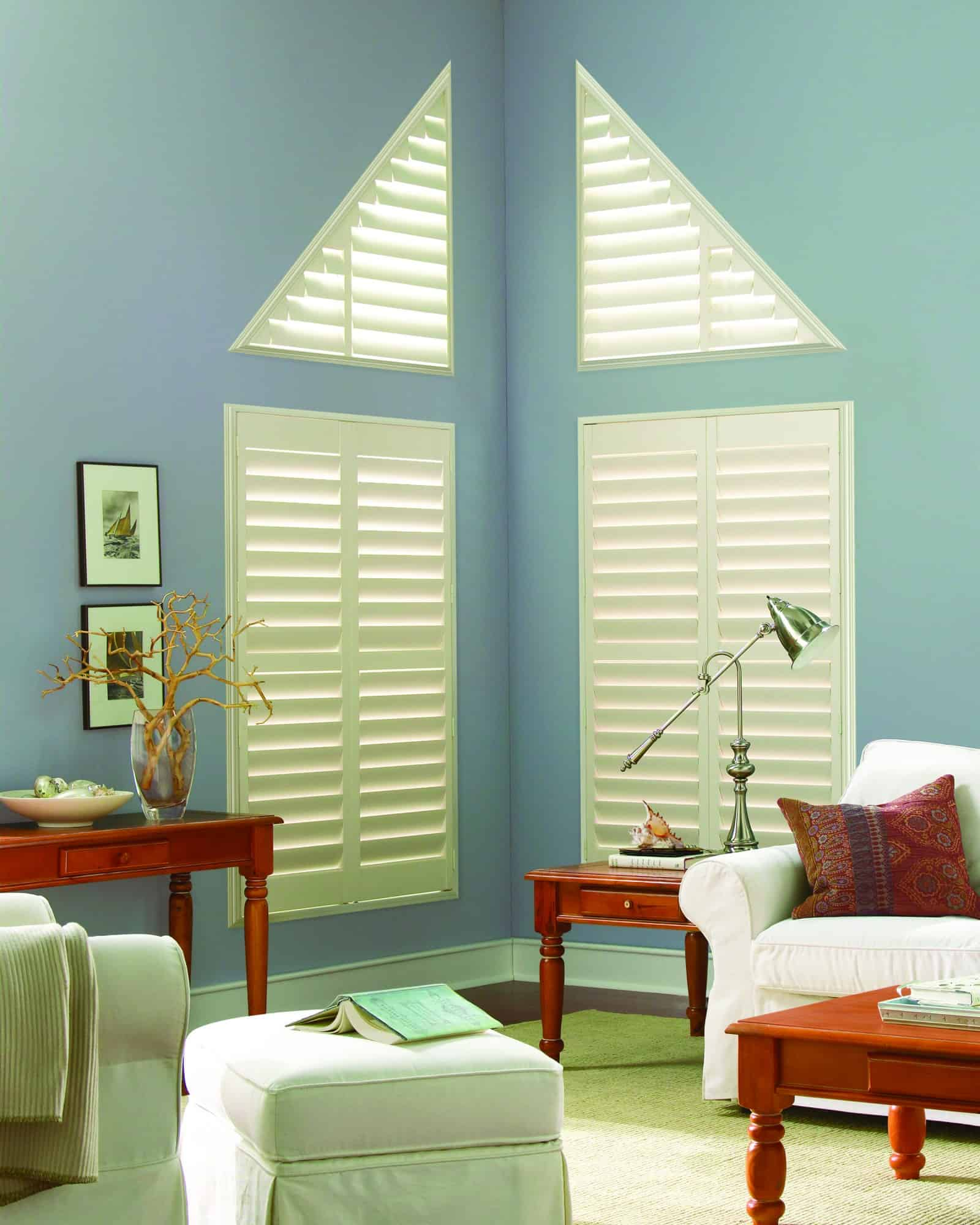 Luxaflex Faux Wood Shutter_Angled_lounge_pale blue walls