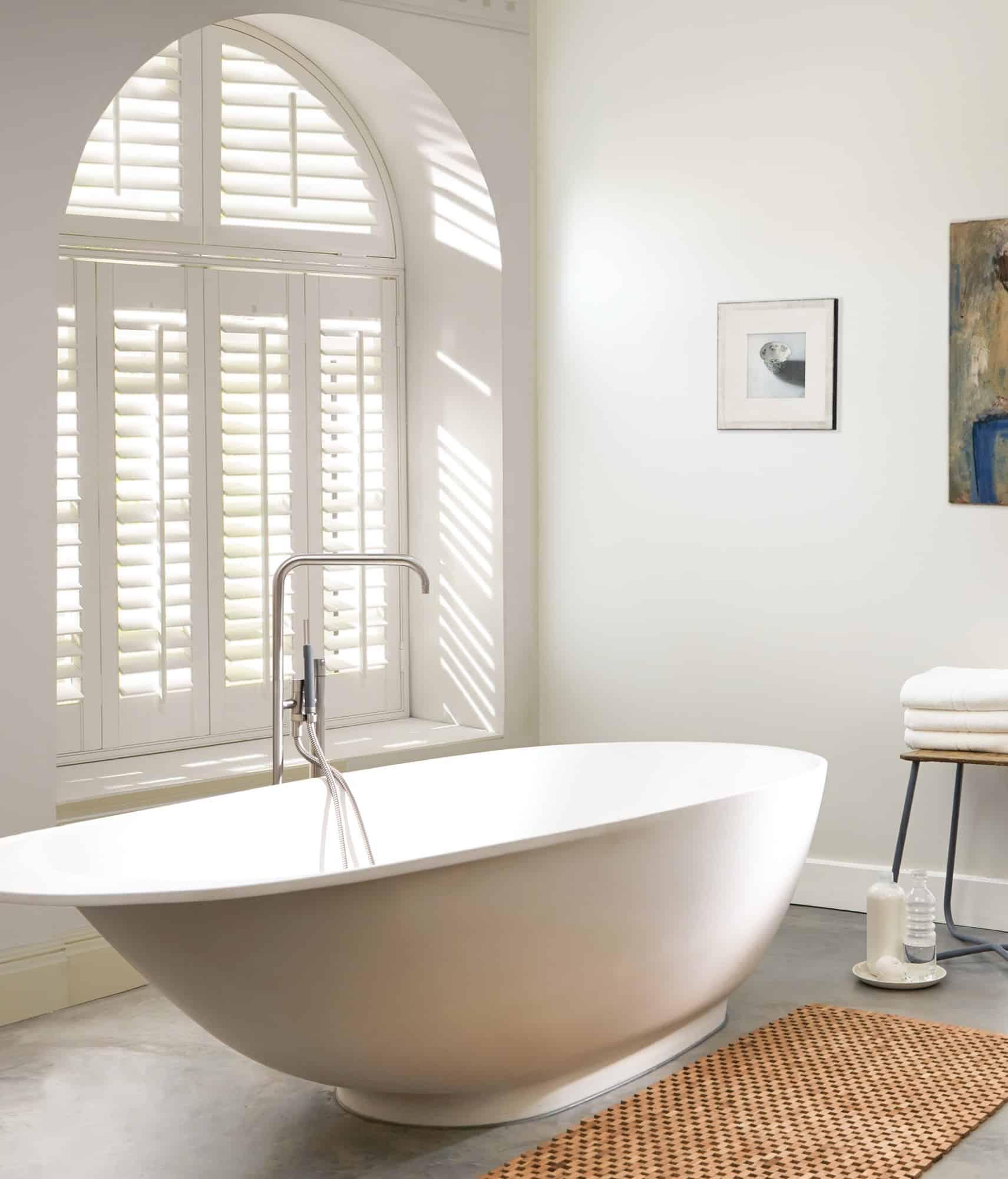 Luxaflex Faux Wood Shutter_bathroom_arch window