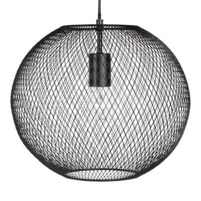 Black Metal Wire Bowl Pendant Light
