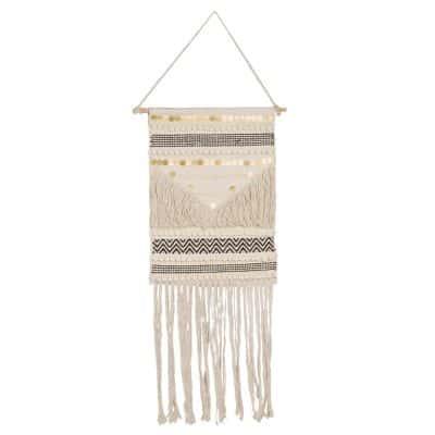 Ecru Cotton Woven Wall Hanging