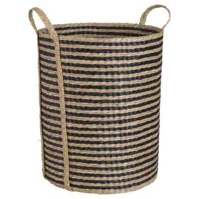 Striped Black Seaweed Linen Basket