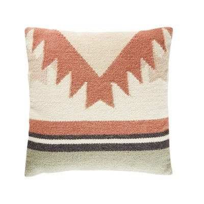 Cotton and Wool Cushion with Graphic Motifs 45×45