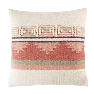 Wool and Cotton Cushion with Graphic Motifs 45×45