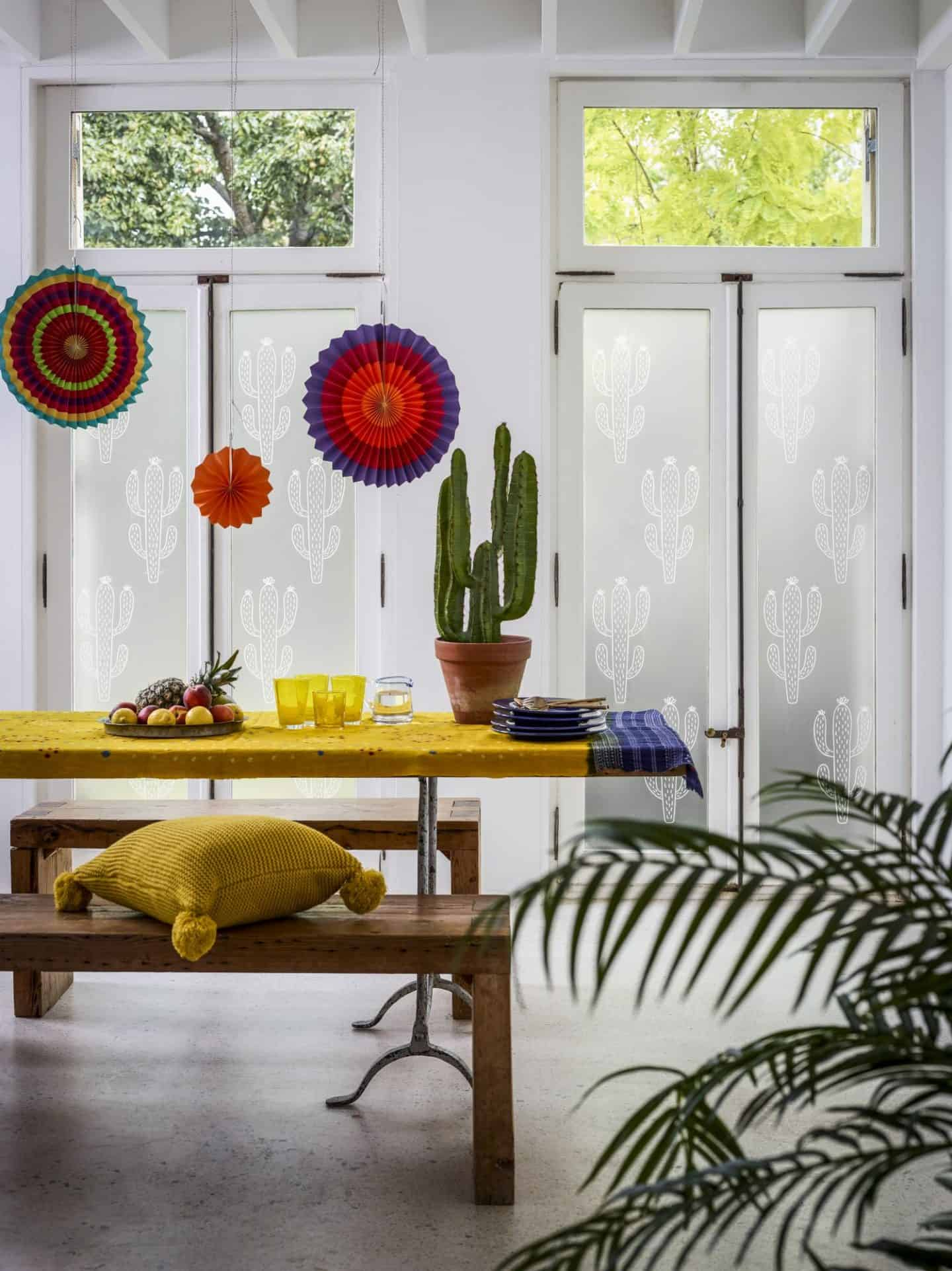 Decorative Window Film -White Printed - Cactus - The Window Film Company