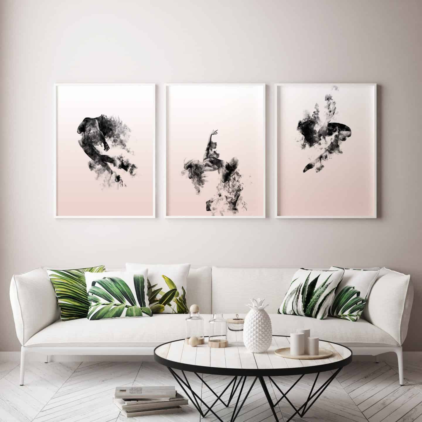 Ink and Drop-affordable artwork portraying 3 dancers