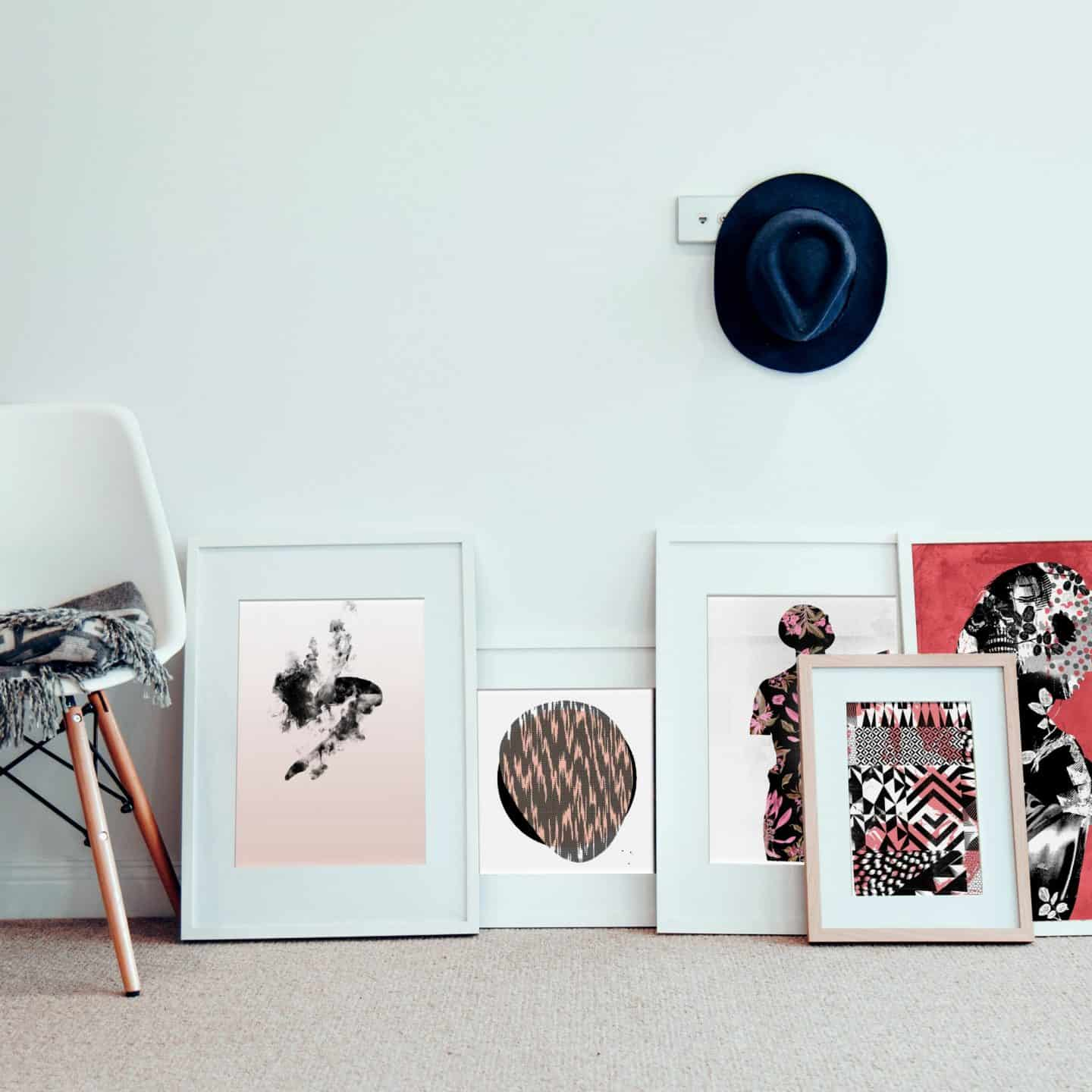Ink and Drop-framed affordable artwork on the floor