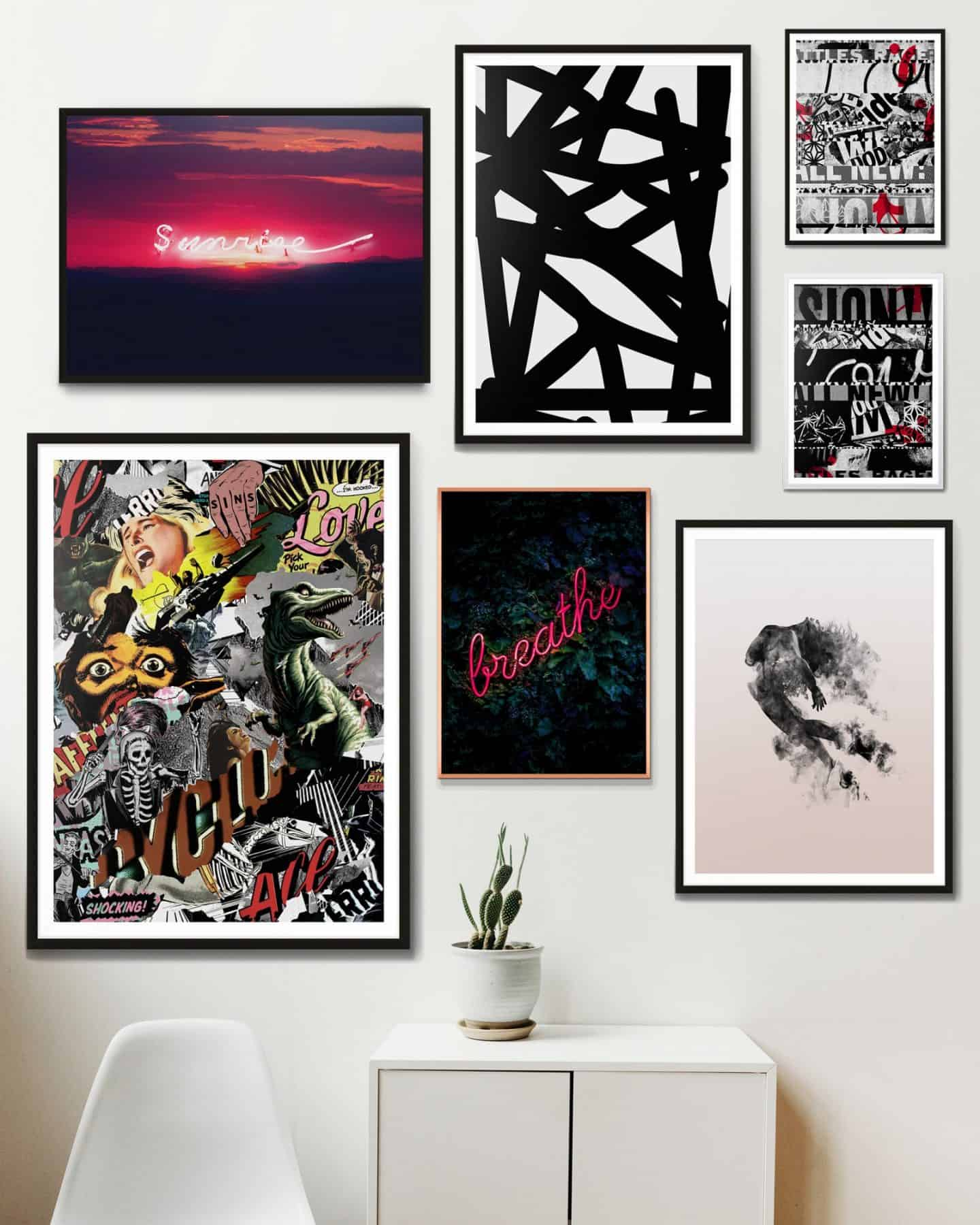 Ink and Drop affordable artwork gallery wall