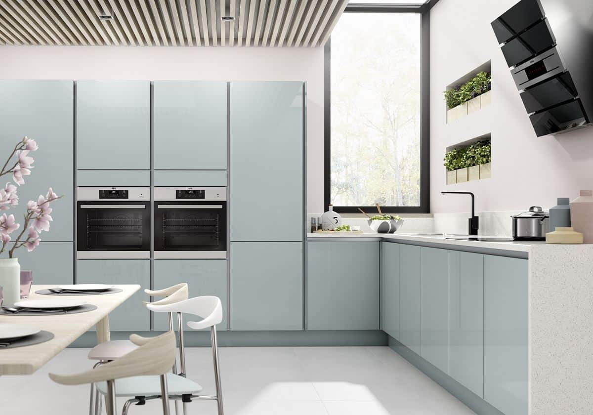 Benchmarx Kitchens Nordica Blue True Handleless Kitchen