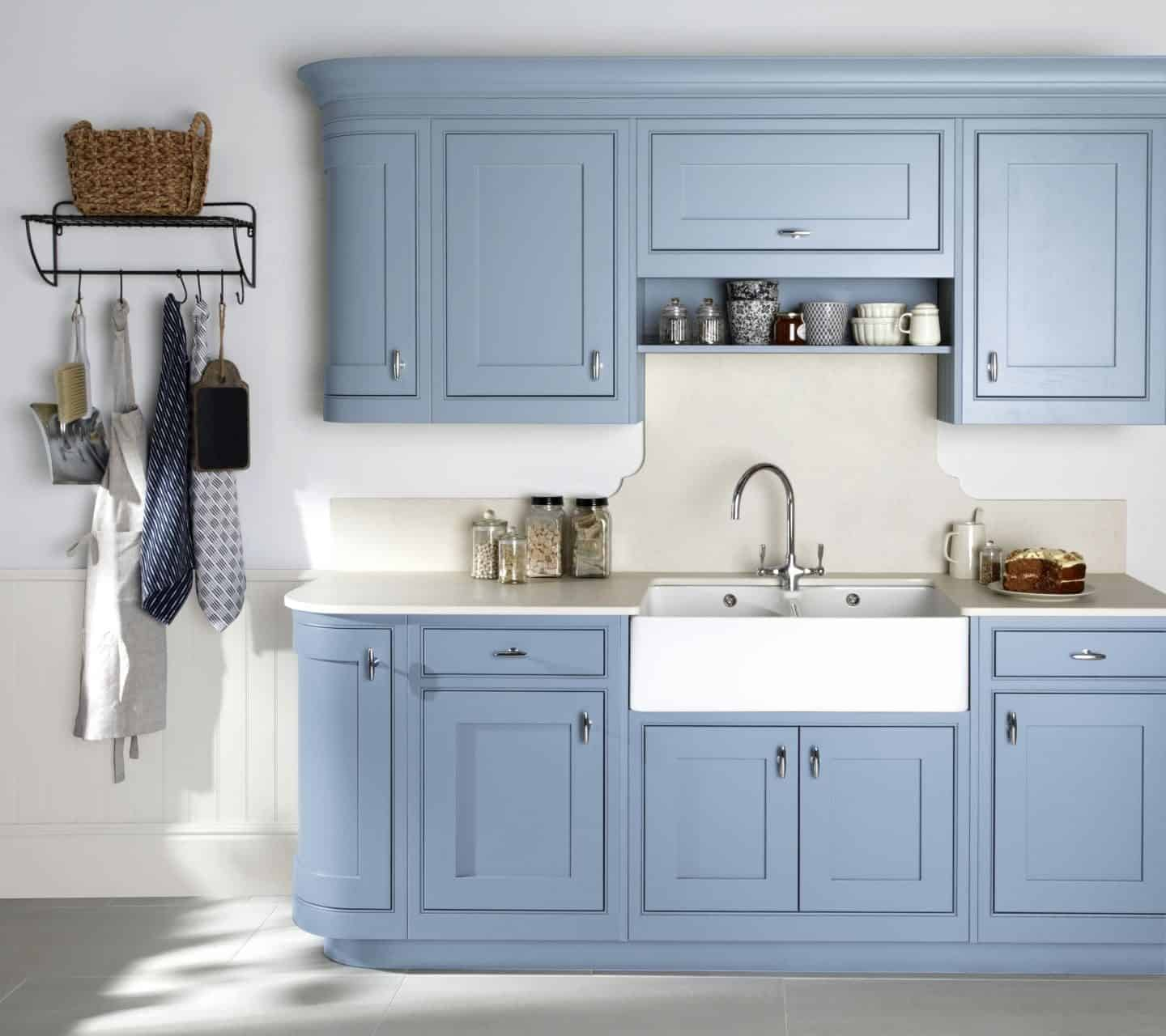 Burbidge, Langton kitchen in Bespoke Painted Pantone Placid Blue, from £14,500