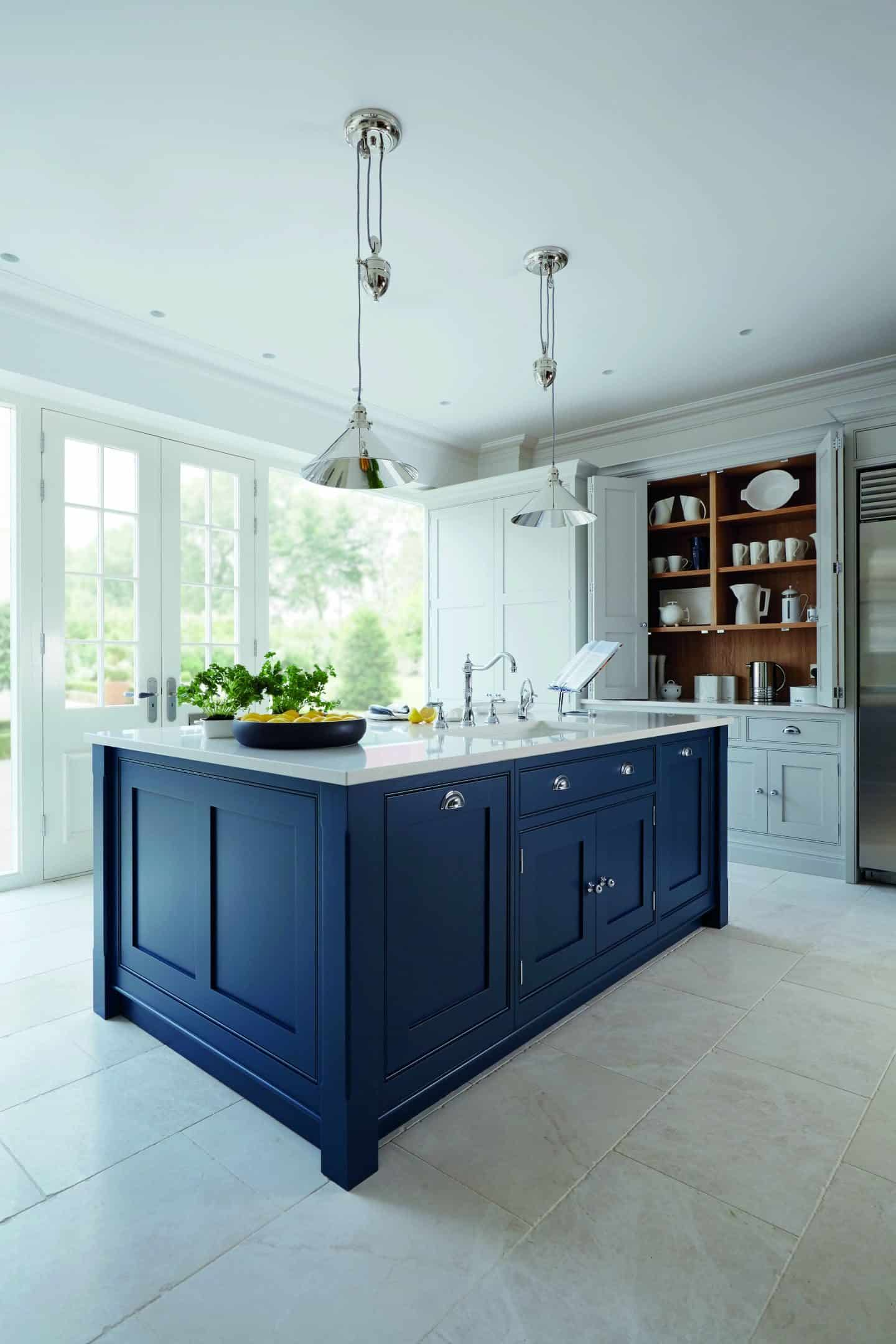 Hartford blue kitchen island in Lithadora, from Tom Howley