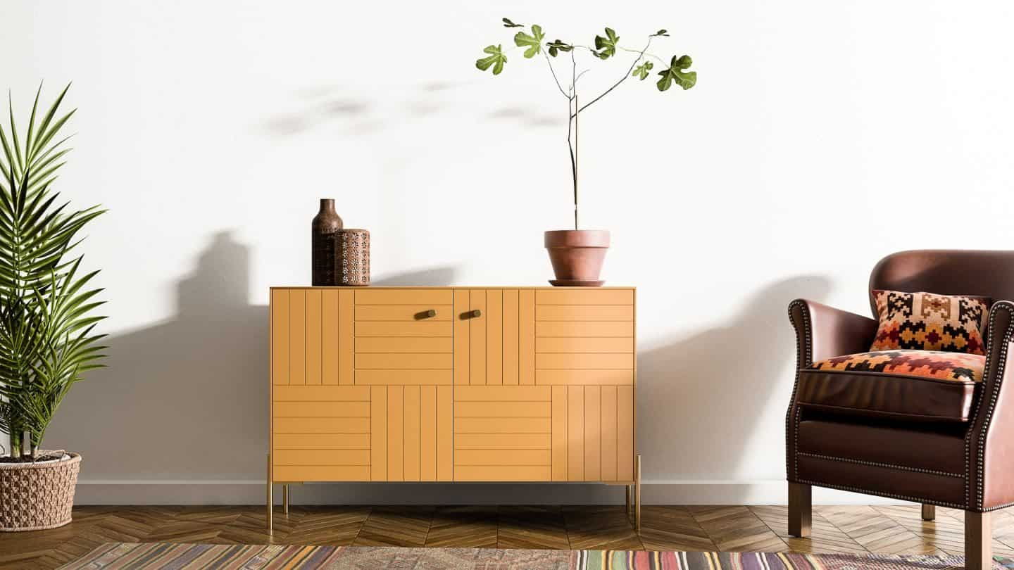 Hack IKEA furniture with Norse Interiors -Marie in Tanned Leather and Brass Knob Elisabeth with Sara Brass Legs