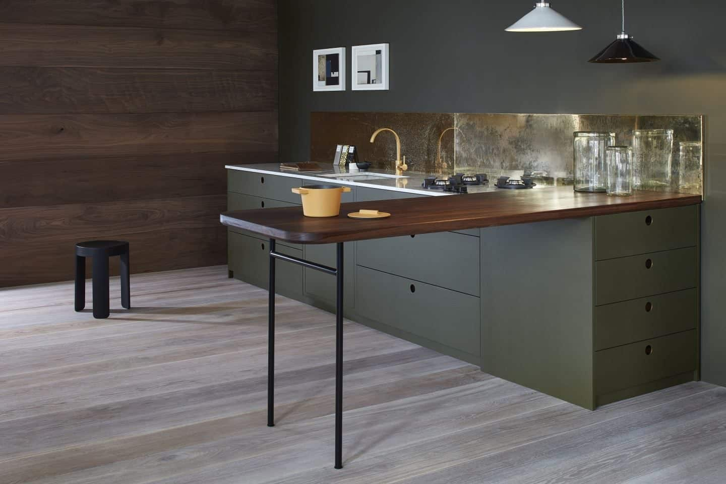 Naked Kitchens - The Ladbroke kitchen in dark green with gold accents sml