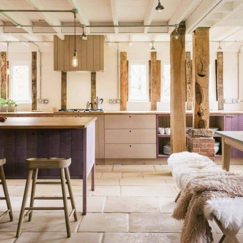 Hampshire Barn by deVOL purple kitchen