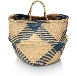 Medium Navy Sea Grass Storage Basket