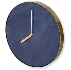 Gold & Navy Suede Wall Clock