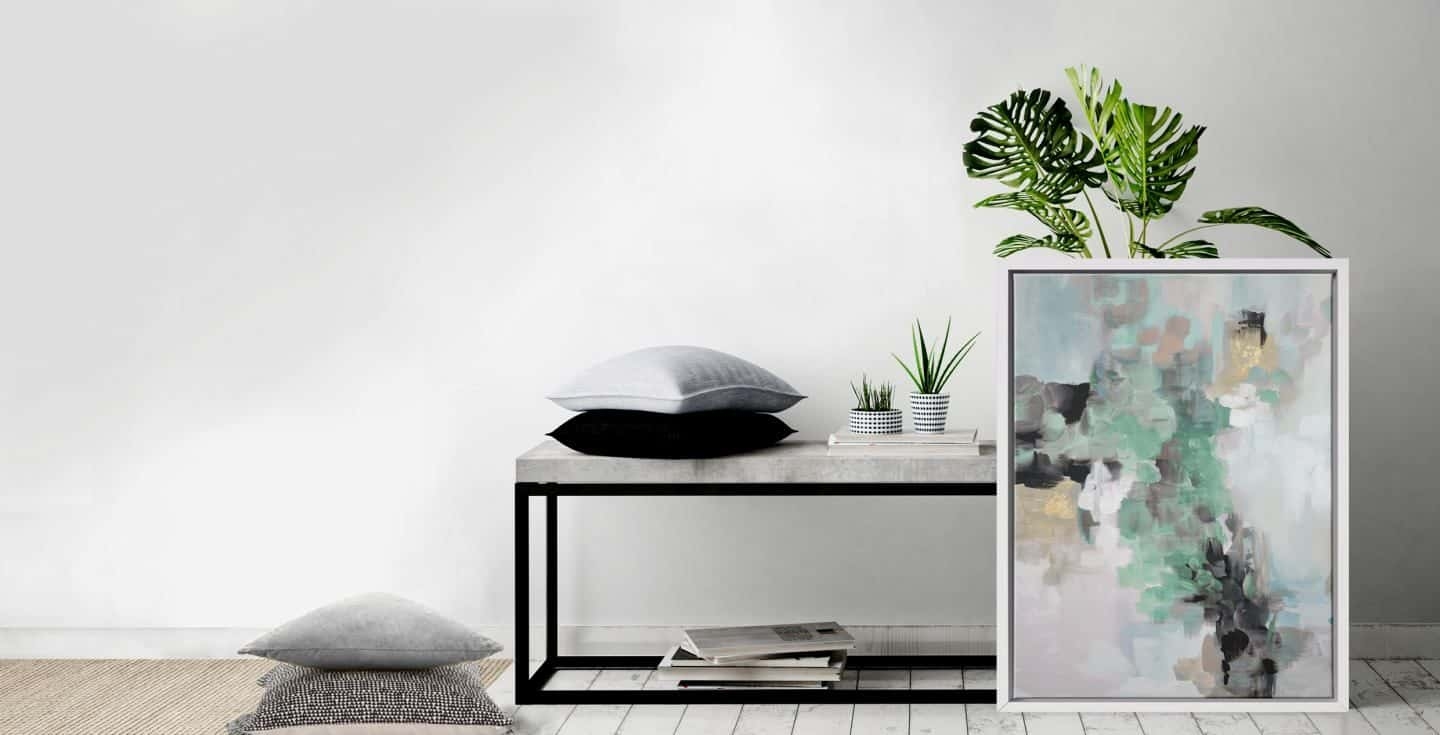 Rosa Ellie_Mint & Grey - Attiko Art - abstract wall art print