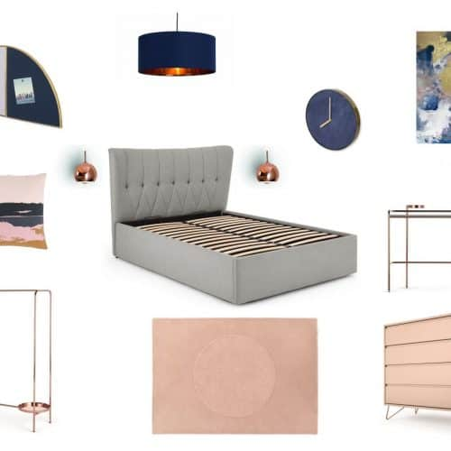 bedroom moodboard dark blue, blush pink and copper accents
