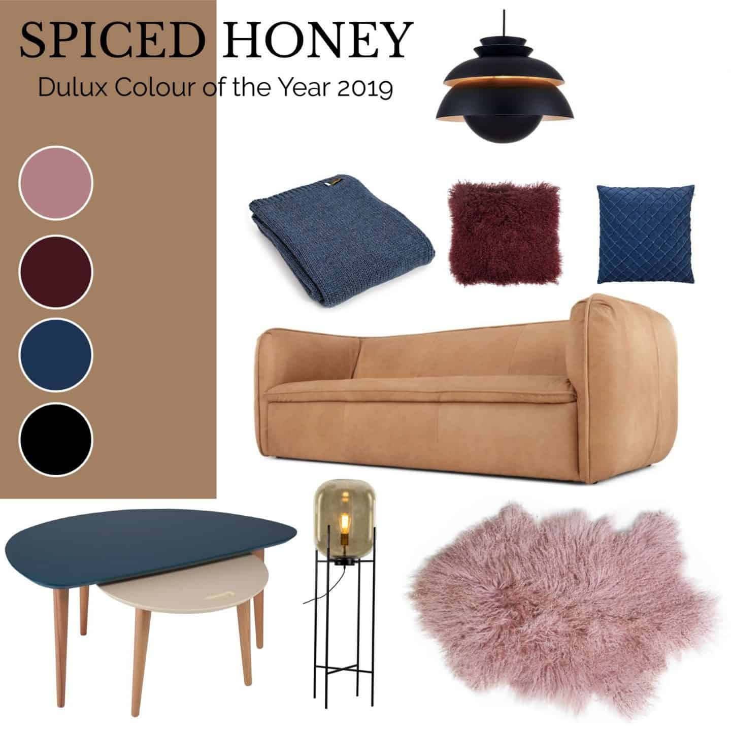 A living room Moodboard using Dulux Spiced Honey as the base colour