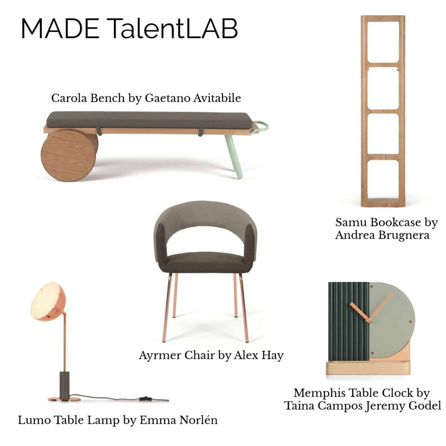 A collage of products from the MADE.COM TalentLAB Collection 2 featuring furniture, lighting and accessories