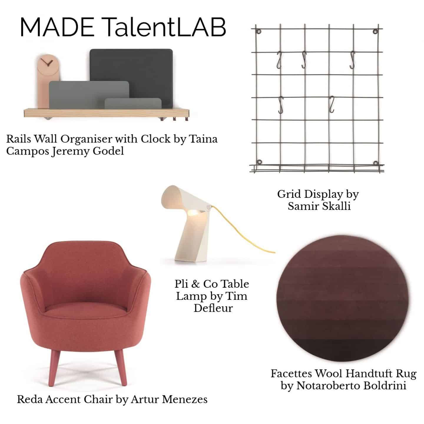 A collage of products from the MADE.COM TalentLAB Collection 2 featuring furniture, lighting, storage and a rug