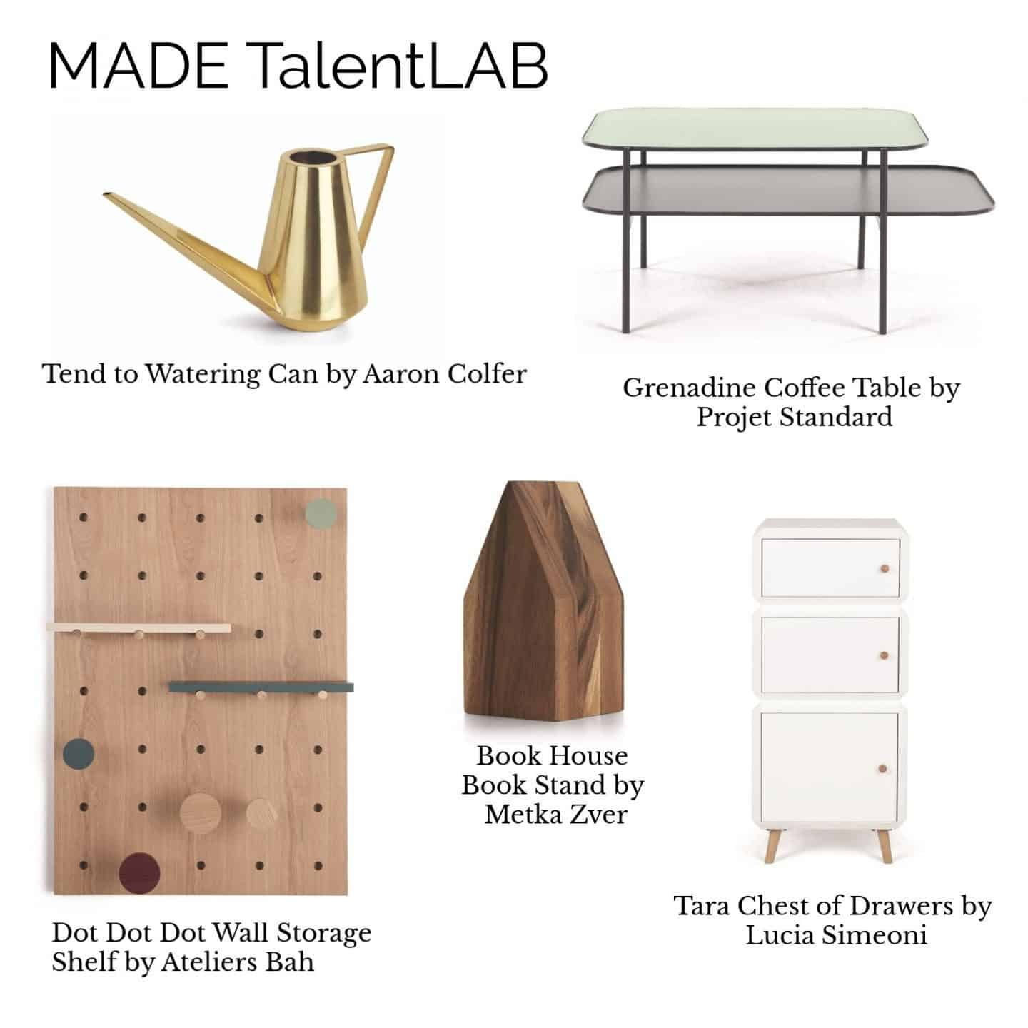 A collage of products from the MADE.COM TalentLAB Collection 2 featuring furniture, storage and accessories