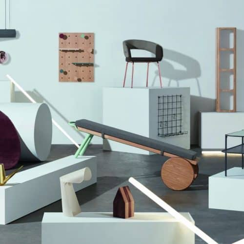 A lifestyle shot of MADE.COM TALENT_LAB COLLECTION 2 comprised of various bits of furniture, lighting and home accessories