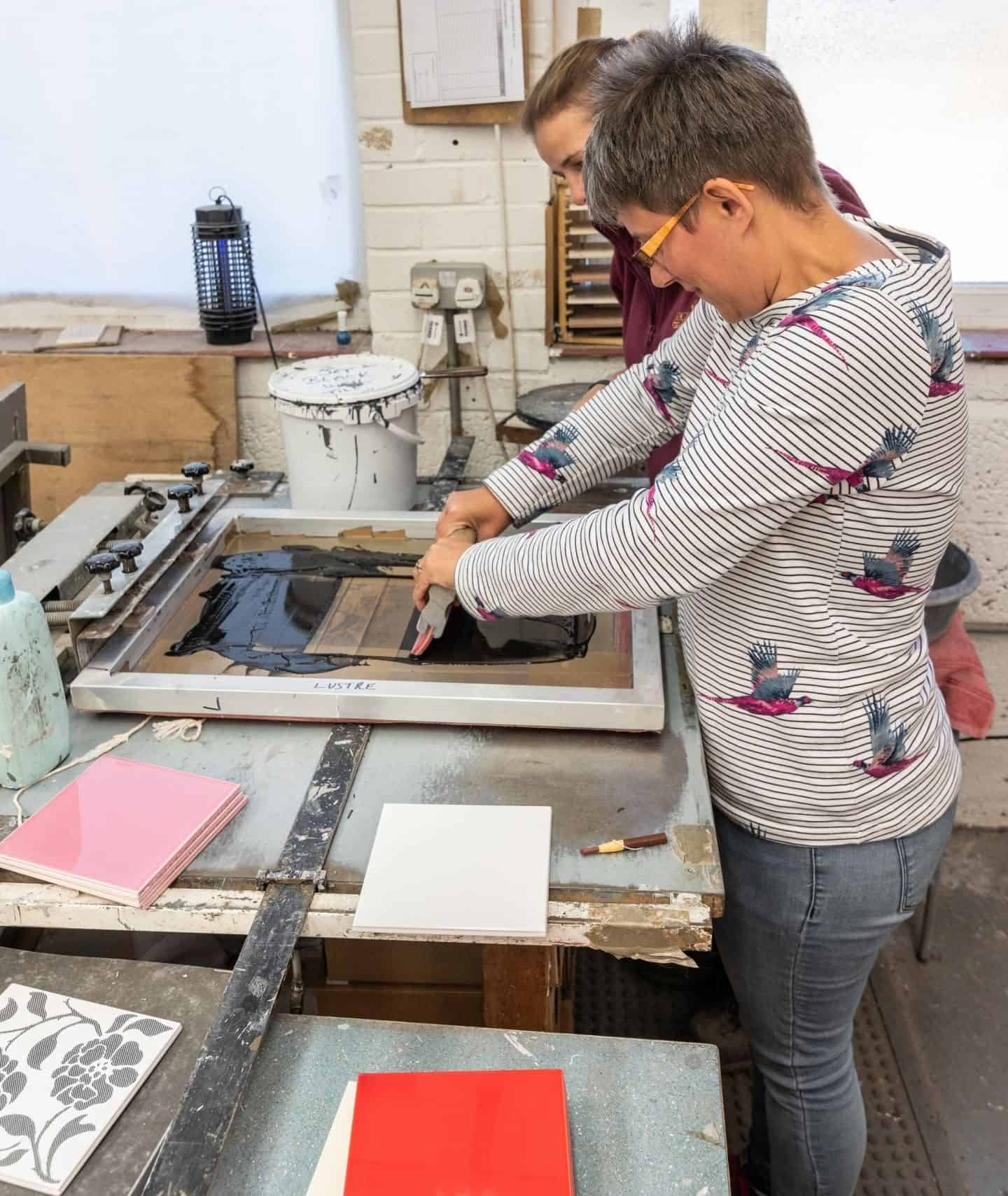 Screen Printing Tiles at Original Style Tile Factory Tour