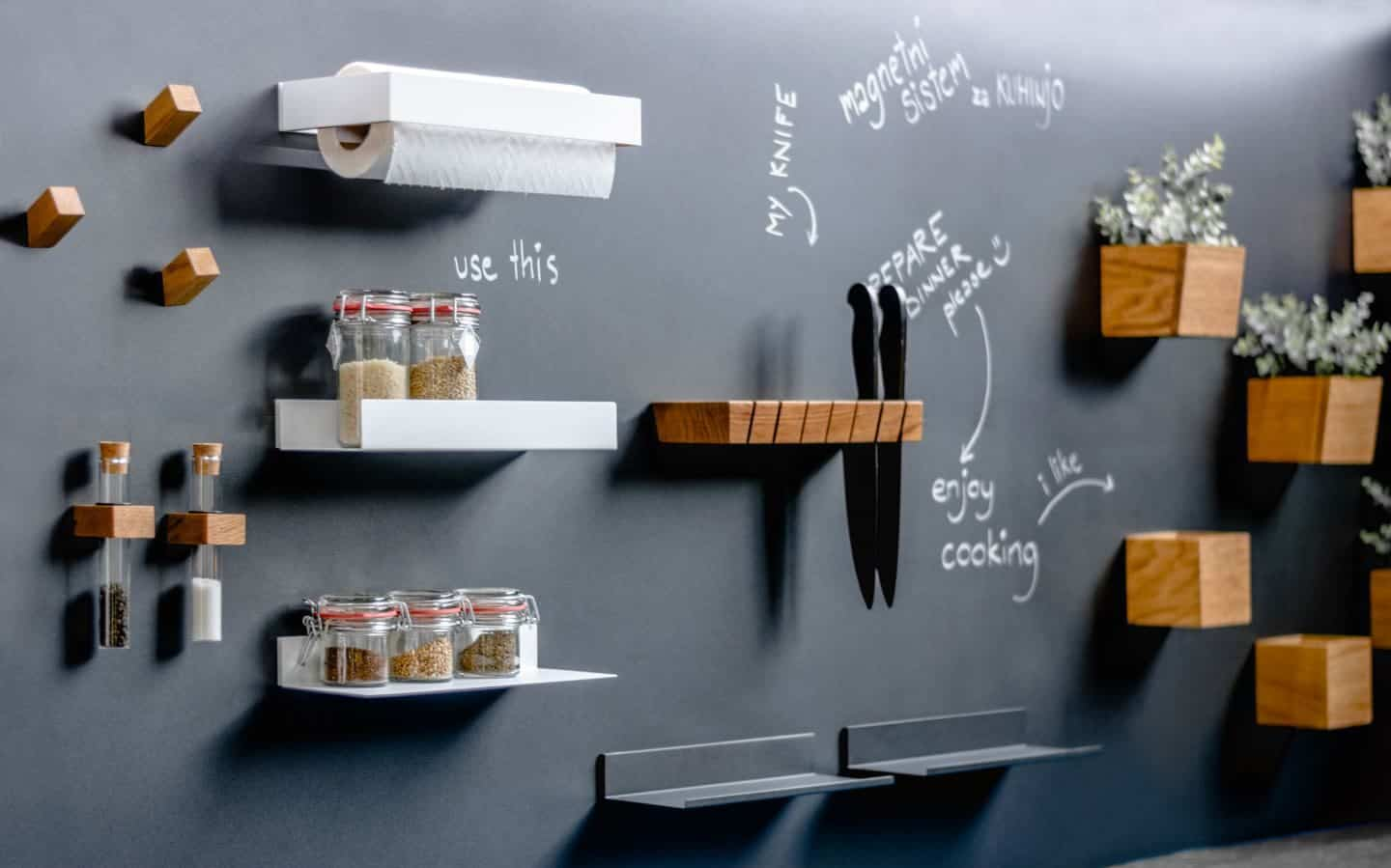 Steelline_magnet, a Magnetic Storage System by 3s design used in a kitchen. Photo Teodor Hribovsek