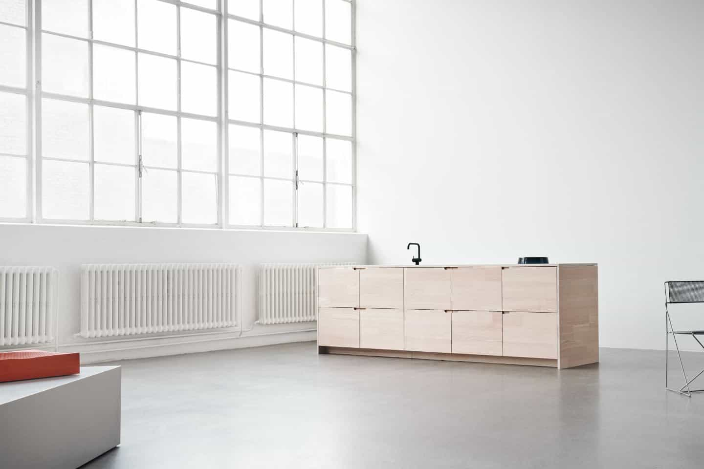 Reform operates a Circular Economy model by collaborating with Lendager Group to reuse the surplus wood from Danish flooring manufacturer Dinesen to create their UP kitchen.