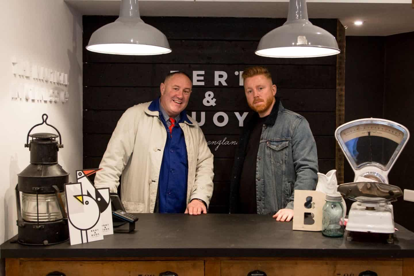 BERT & BUOY DARTMOUTH SHOP OPENING - Bert & Keith Brymer Jones behind the counter