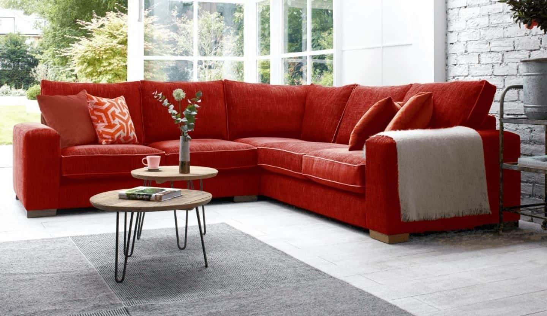 Darlings of Chelsea - Ashdown Corner Sofa Family Friendly Linen Blend Pillarbox