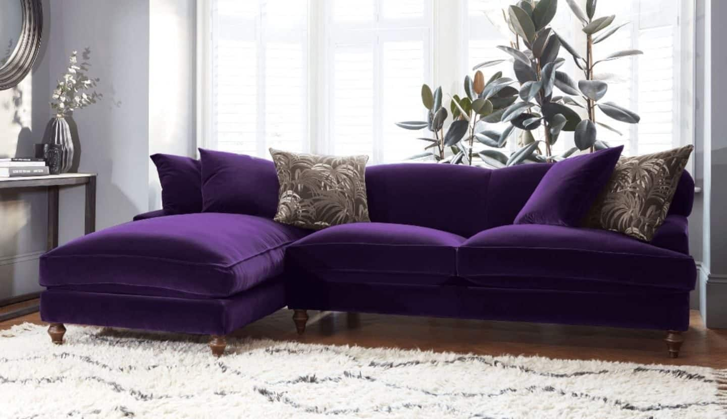 Darlings of Chelsea - Galloway Chaise Sofa Stain Resistant Velvet Royal
