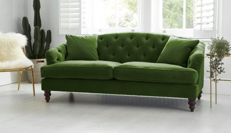 Darlings of Chelsea - Paisley Midi Sofa - Oscar Velvet Vintage Green