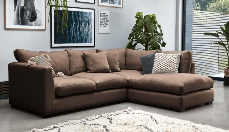 Darlings of Chelsea - Waterford Corner Sofa in Hard Wearing Velvet Mole