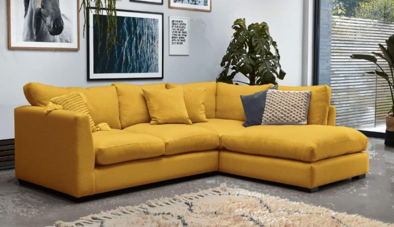 Darlings of Chelsea - Waterford Corner Sofa in Hard Wearing Velvet Tumeric