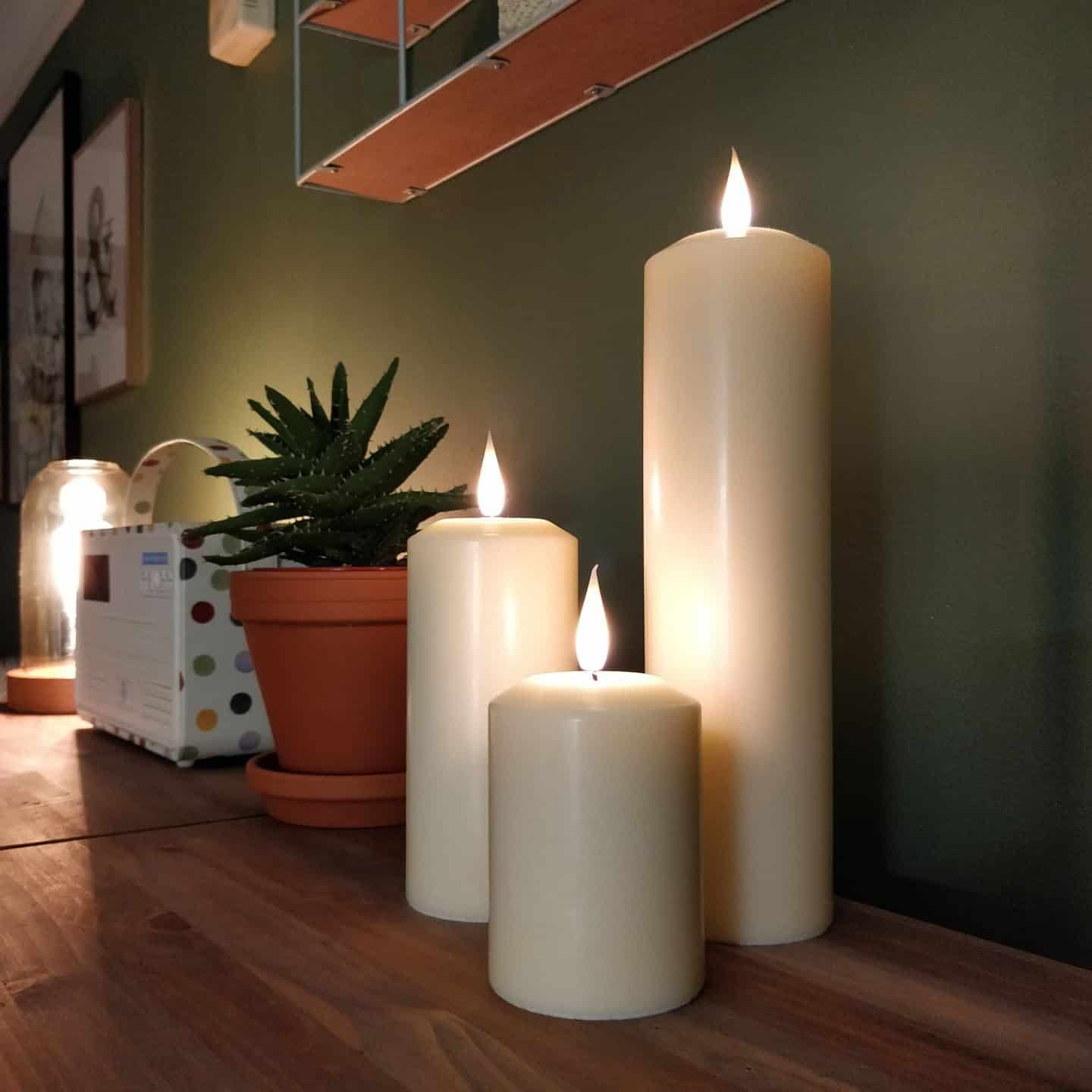Realistic LED candles from Candled on a sideboard 7
