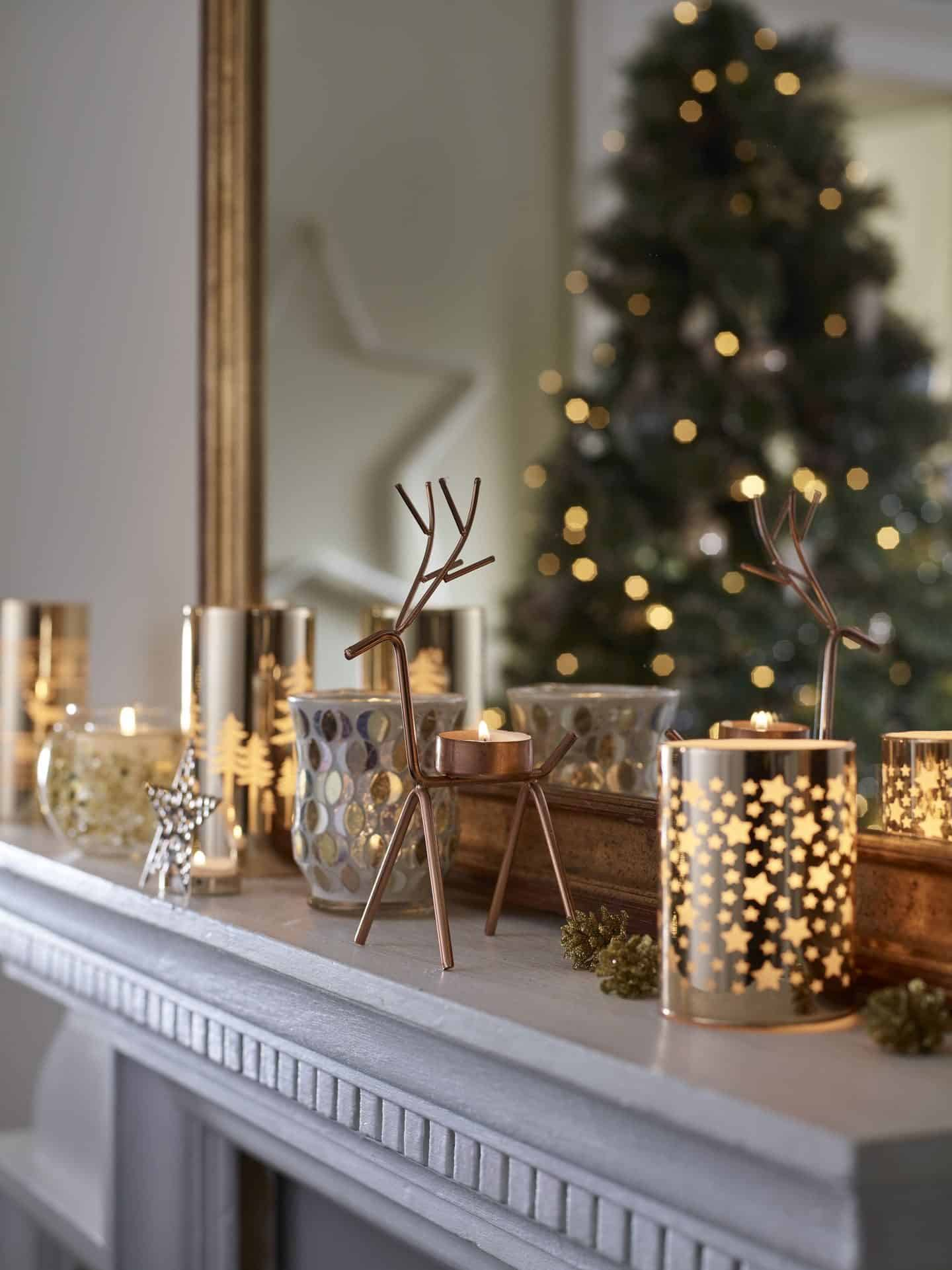 Dobbies All That Glitters Christmas Trend - Festive Candle Holders on the mantelpiece