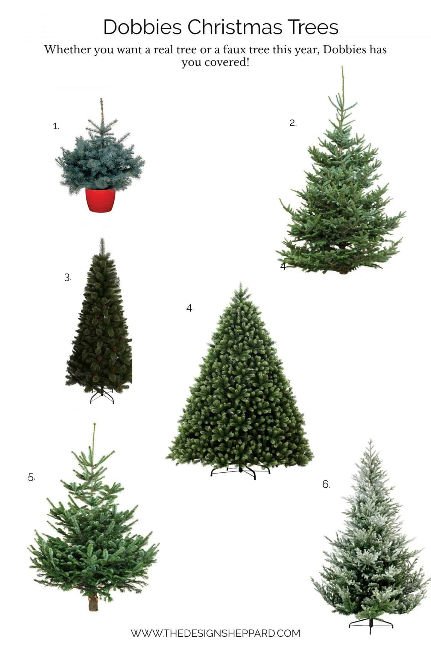 Dobbies Christmas Trees - a selection of real trees or realistic faux trees