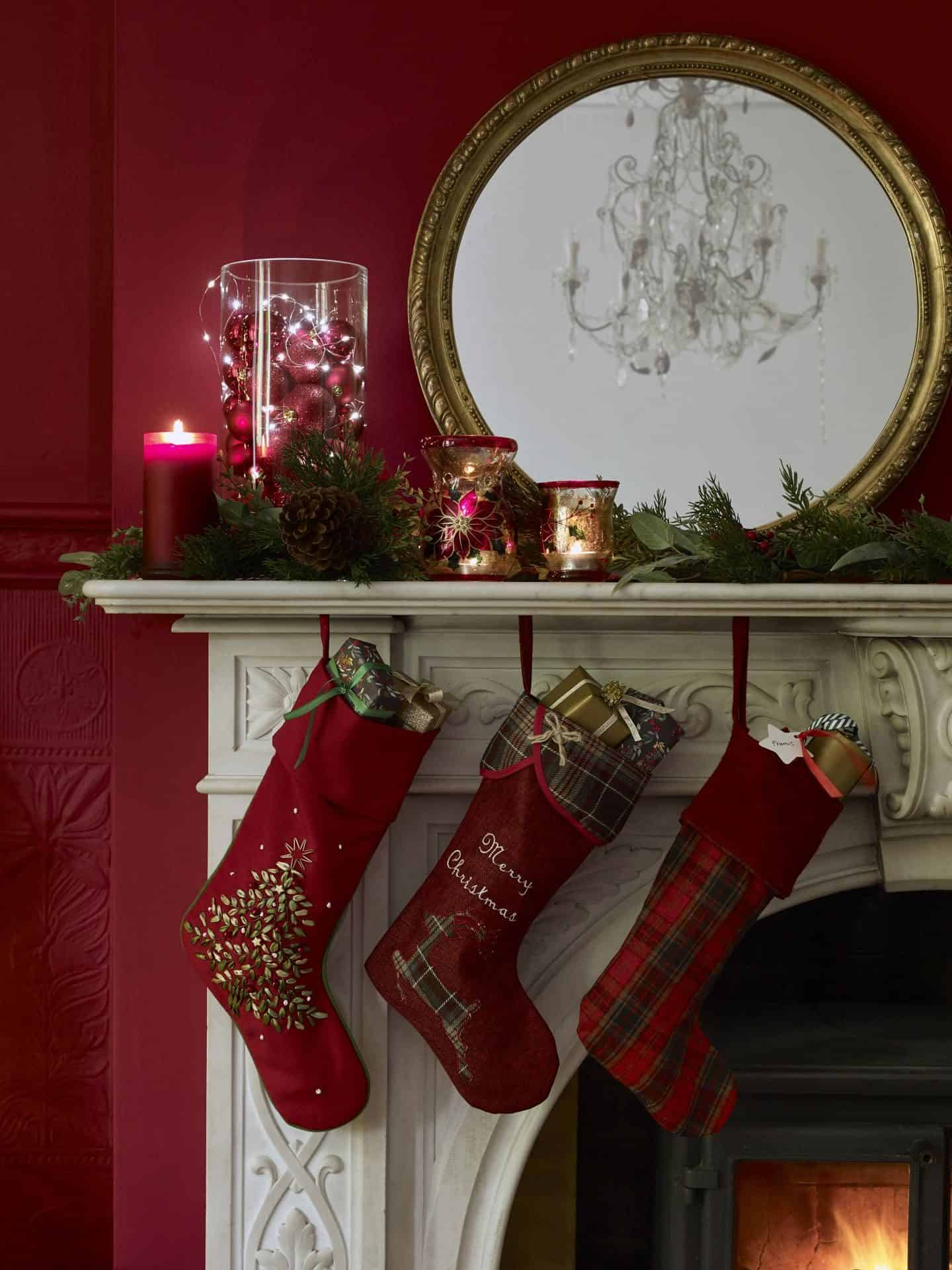 Dobbies Traditional Elegance Christmas Trend - stockings hanging on the fireplace