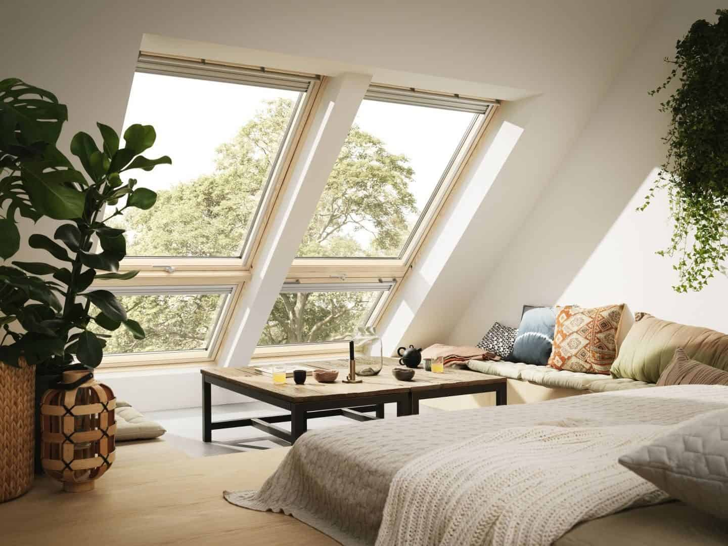 Loft Conversion - Living Room - Velux Cabrio balcony windows