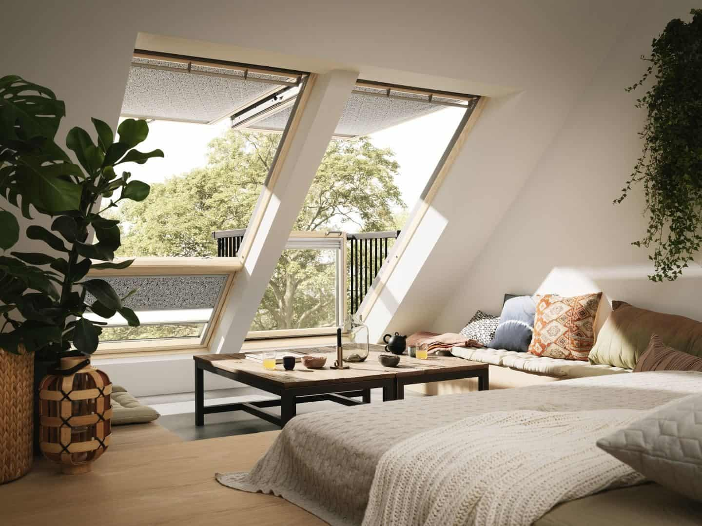 Loft Conversion - Living Room - Velux Cabrio balcony windows open